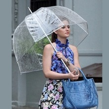 Durable Transparent longue poignée femmes parapluie semi-automatique Portable taille filles ensoleillé pluvieux Polyester parapluie chaud nouveau