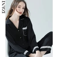 %e2%98%852021 female the spring and autumn period and the long sleeve pajamas thin ice silk simple black slacks leisurewear suit