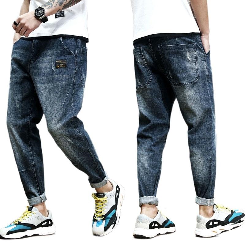 Spring autumn men's jeans Harem long pants trend winter Capris loose size elastic casual wear Ankle-length Pants casual man
