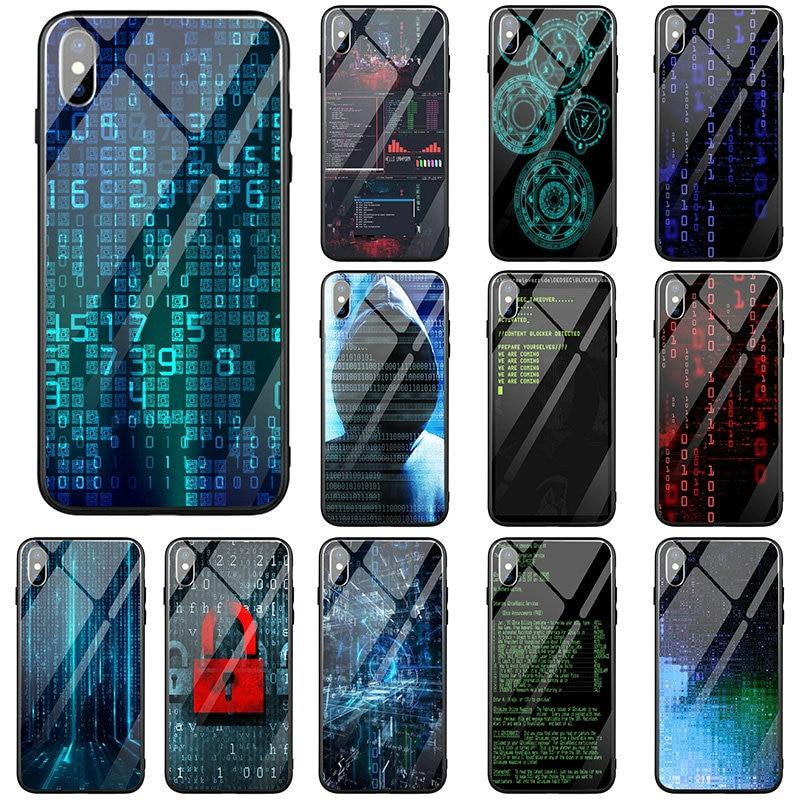 Funda de teléfono de vidrio templado para iPhone 5 5S SE 2020 6 6Plus 7 7Plus 8 8Plus X XR XS 11 Pro Max Bags programa de código de pantalla de ordenador