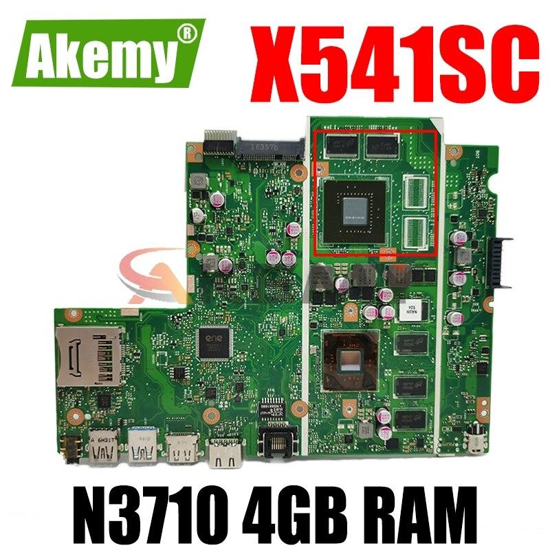 Akemy X541SC N3710 CPU 4GB RAM N15V-GL1-KB-A2 اللوحة الرئيسية REV 2.0 ل For Asus X541S X541SC اللوحة الأم للكمبيوتر المحمول 90NB0C10-R00010