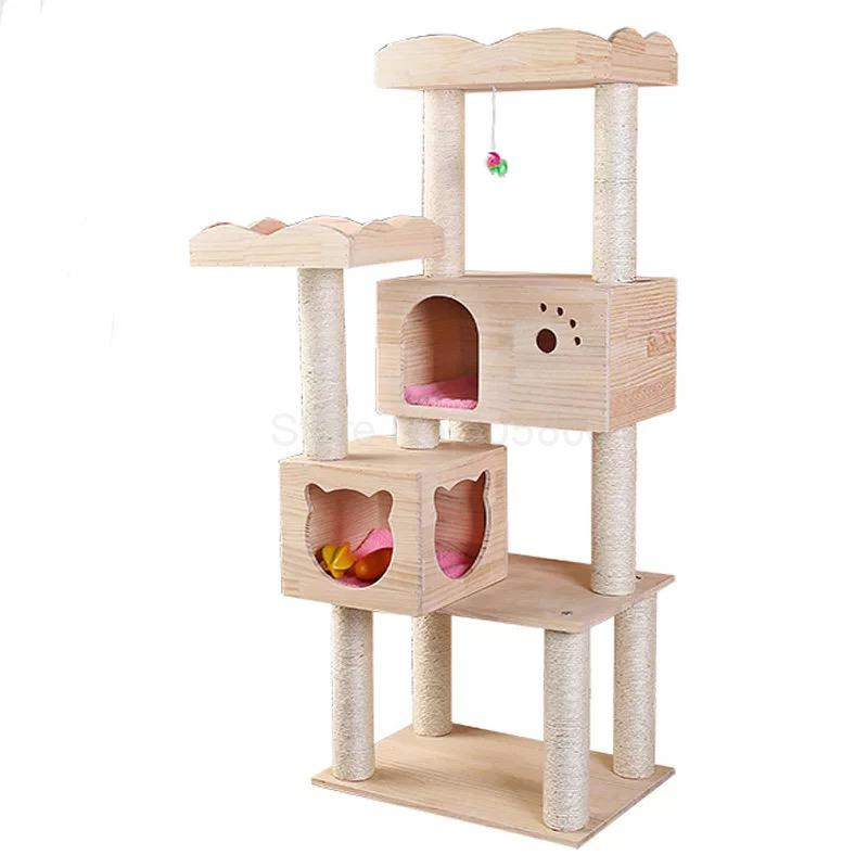 Pet supplies large cat climbing frame, scratching column toy multi-layer solid wood jumping platform