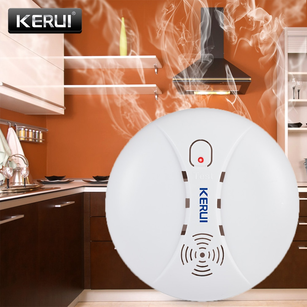 KERUI Smoke Fire Detectors 433MHz Wireless Detectors Alarm for Wifi GSM PSTN Home Security Alarm System Smoke Alarm Sensors Kits