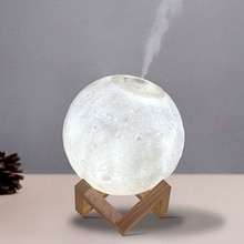 LED Night Light 3D Print Moon Lamp Rechargeable Color Changed Lighting Touch Lamp with Aromatherapy
