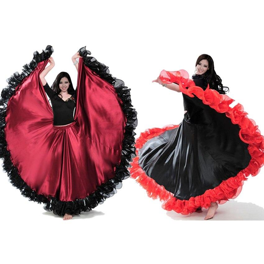 تنورة الفلامنكو الإسبانية على الطراز الغجري للنساء ، مقاس كبير ، أزياء رقص شرقي ، فستان دانتيل مكشكش ، أداء الفريق