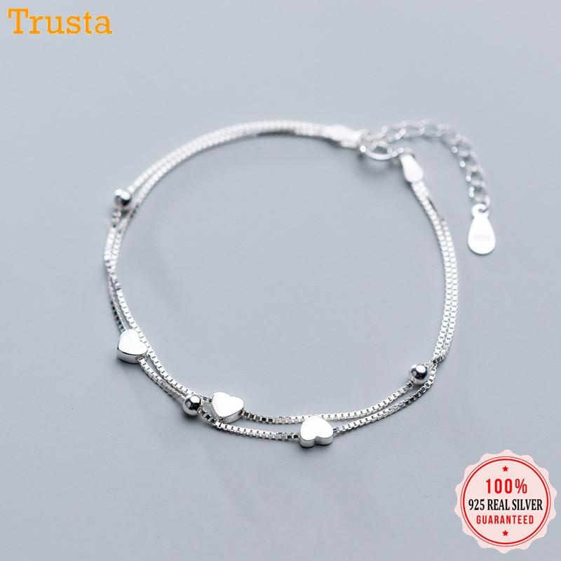 Trustdavis 925 Sterling Silber Süße Doppel Schicht Herz Perlen 16cm Armband für Frauen Sterling Silber Hochzeit der Tag Geschenk DA418