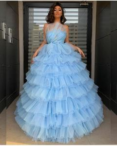 YiMinpwp Light Sky Blue Ball Gown Quinceanera Dresses Strapless Sweep Train Tiered Formal Prom Party Gowns for Sweet 15