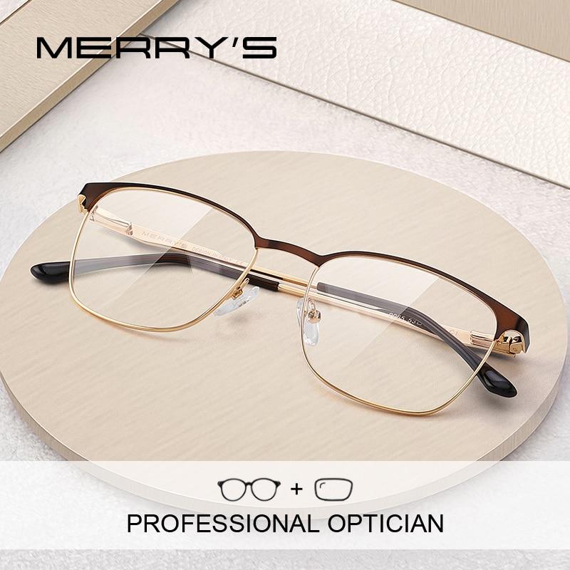 MERRYS-إطار نظارات مصنوع من السبائك للرجال والنساء ، نظارات طبية خفيفة الوزن ، طراز قديم ، S2165PG