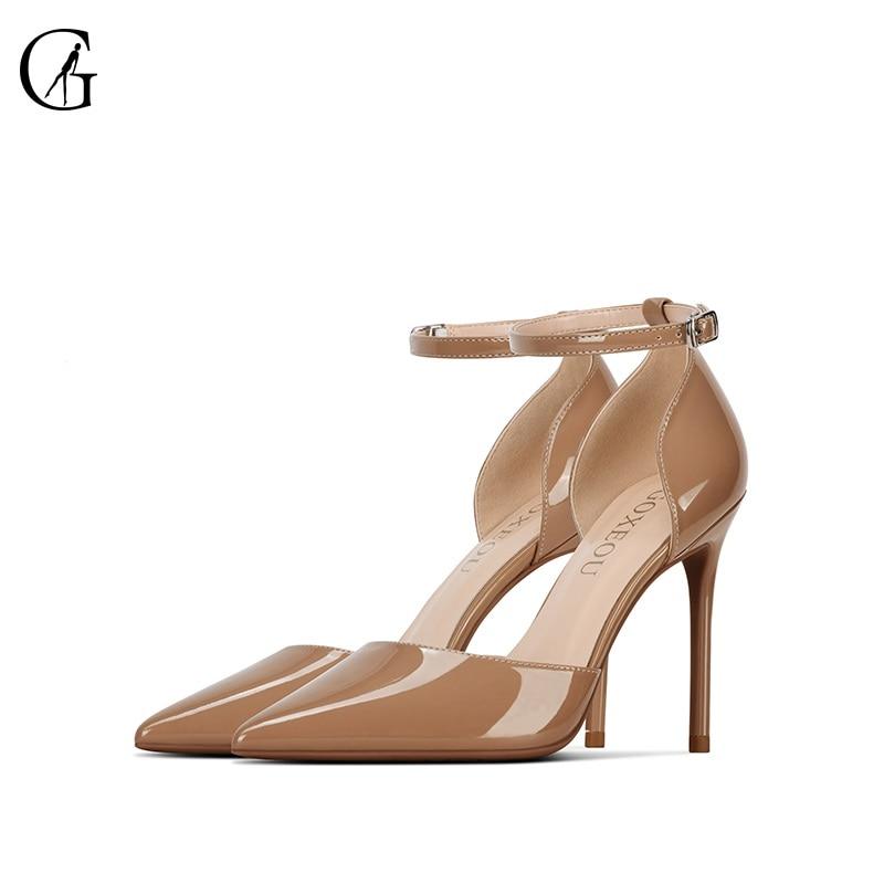 GOXEOU-حذاء نسائي من الجلد اللامع مع حزام كاحل ، حذاء بمقدمة مدببة وكعب عالٍ ، للحفلات والمكتب ، المقاسات من 32 إلى 46