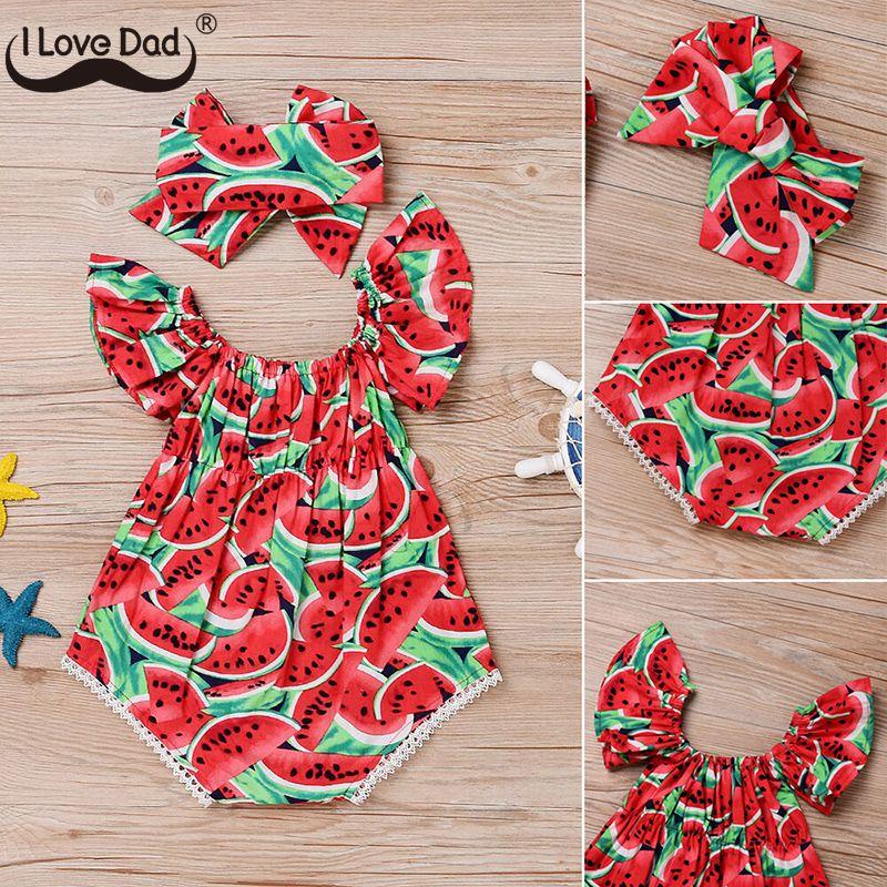 Macacão infantil de algodão, roupa de bebê recém-nascido, bonito, estampa de melancia, macacão, roupa de bebê