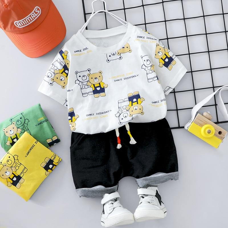 Summer Baby Boy Outfit Toddler Cartoon Print Bear Short Sleeve T-shirt+Black Shorts Two Piece Newborn Set Brand Cotton Baby Suit