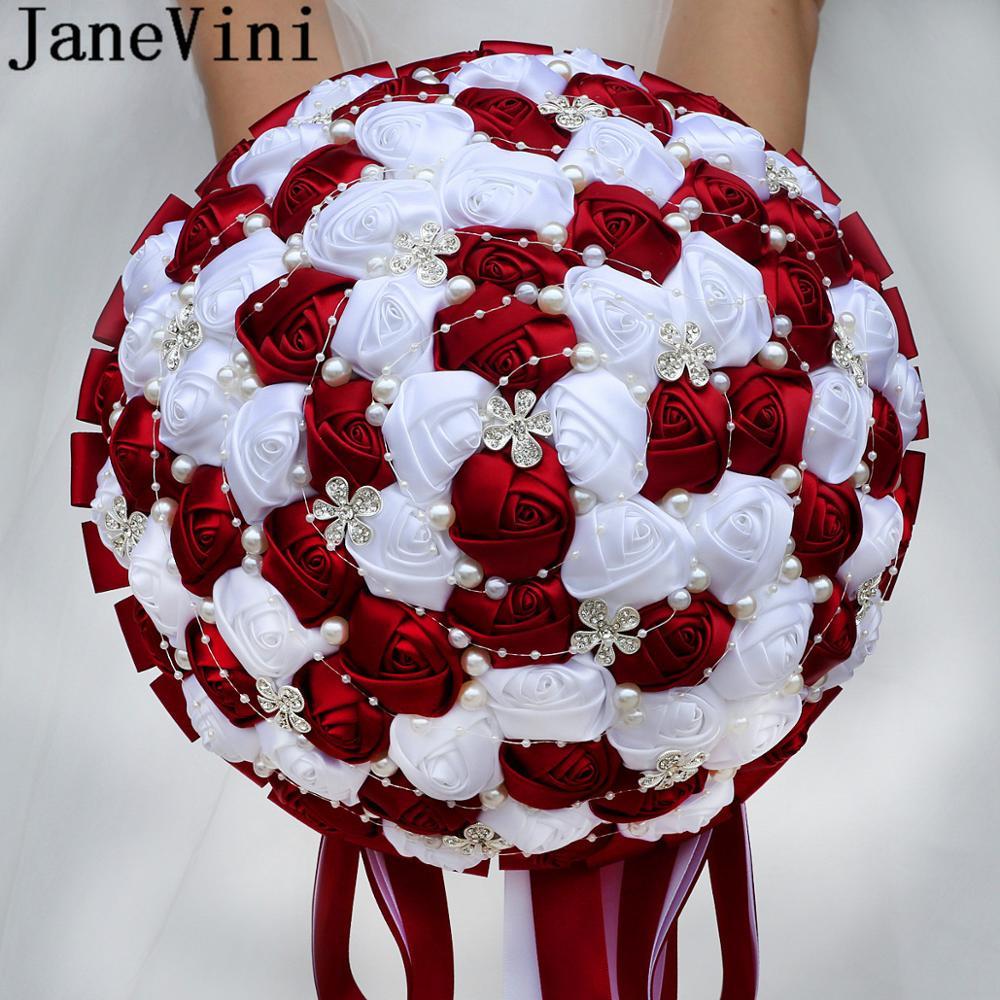 JaneVini 30 سنتيمتر كبيرة الزفاف باقات الأحمر الداكن الزفاف الزهور الزفاف باقات الفاخرة الكريستال اللؤلؤ حجر الراين الخرز العروس روز