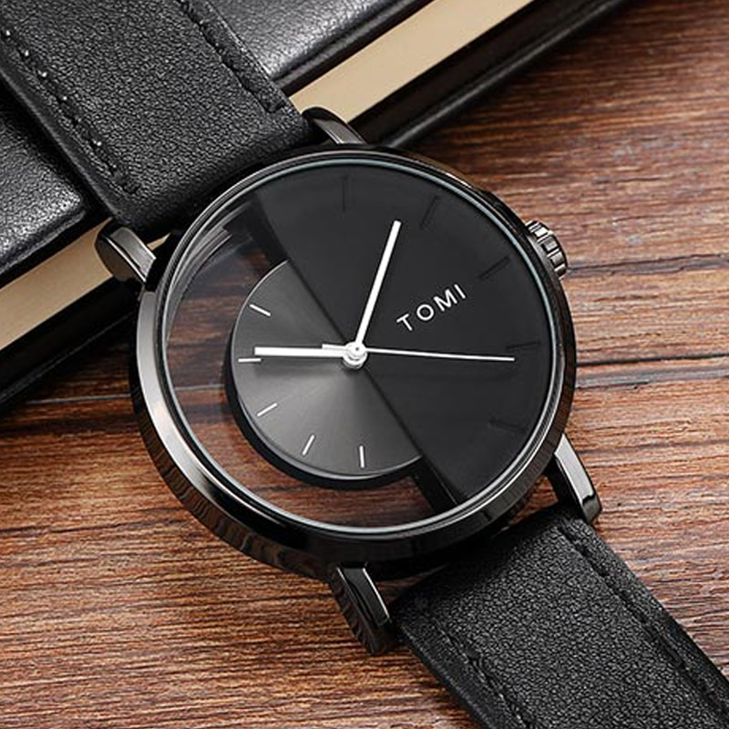 Unique Watch Creative Half Transparent Unisex For Men Women Couple Geek Stylish Leather Wristwatch Fashion Quartz-watch