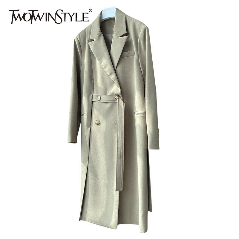 TWOTWINSTYLE معطف سترة غير رسمية للنساء محززة فضفاضة طويلة الأكمام المرقعة زر واحد جيوب معاطف الإناث 2021 الخريف جديد