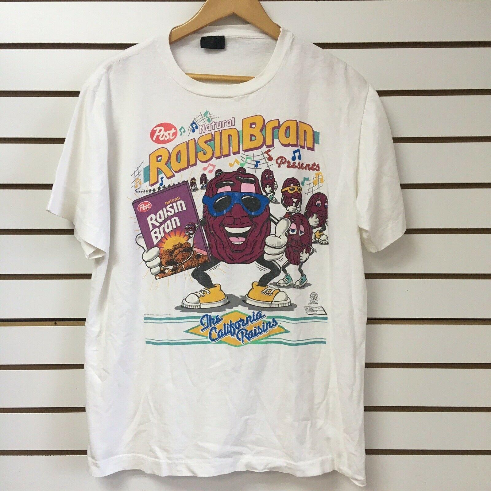 Vintage California Rozijnen T Shirt Maat Xl Raisin Bran Post Granen 1988 Mode Korte Mouw Zwart T-shirt