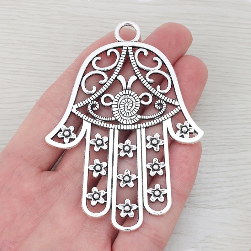 5 x abalorios plateados de gran mano Hamsa filigrana colgante para collar fabricación de joyas 85x62mm