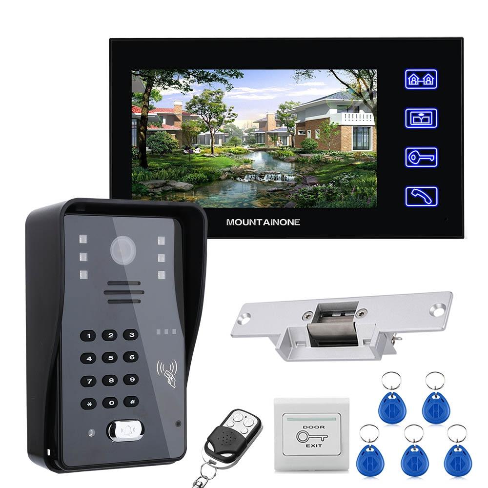 Mountainone-مجموعة نظام الاتصال الداخلي عبر الفيديو مع شاشة LCD مقاس 7 بوصات ، RFID ، بكلمة مرور ، قفل الإضراب الكهربائي ، جهاز تحكم عن بعد لاسلكي ، فتح