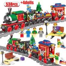 Tren de Navidad Creator City, bloques de construcción de ferrocarril, tren de ferrocarril, transporte de tren DIY, ladrillos, juguetes para niños