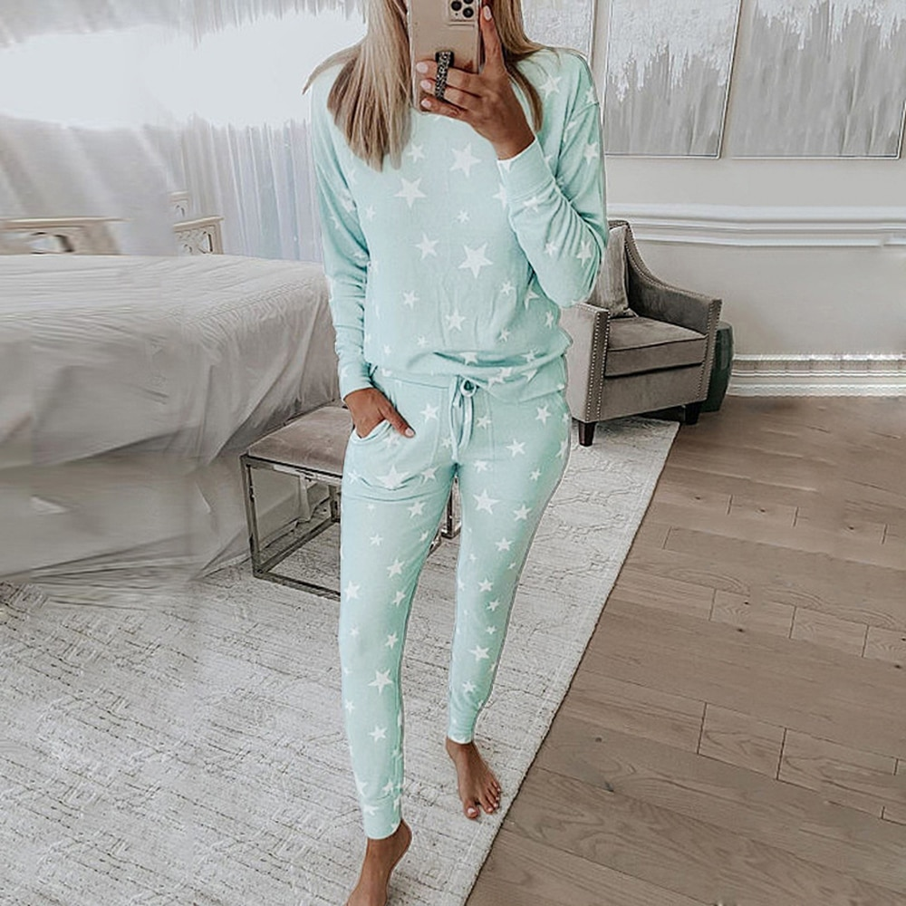 Spring Knitted Lounge Wear Set Women Loungewear Pajama Set Women Female Nightwear Ladies Sleepwear H