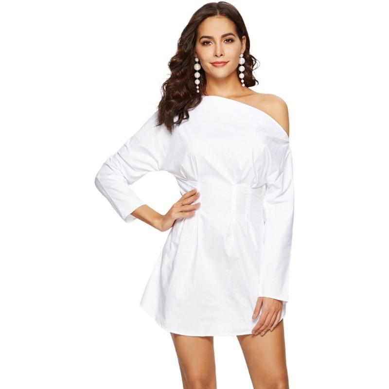 2019 vestido de temporada de otoño de manga larga cuello oblicuo sin tirantes Sexy Loveliness vestido blanco de la cintura