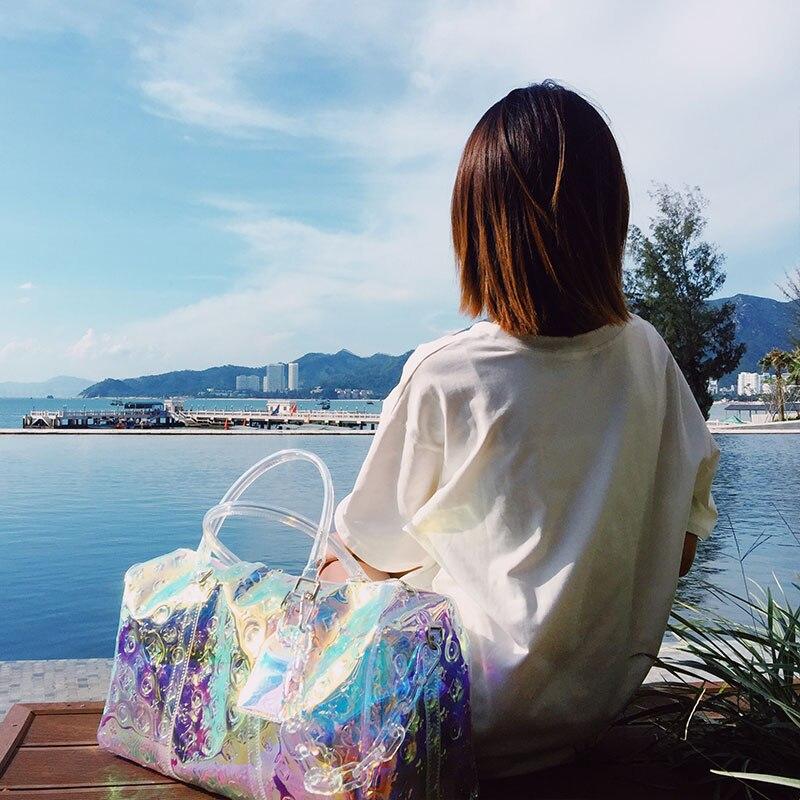 حقيبة سفر ملونة للنساء ، نمط جديد ، حقيبة ترفيه ، لياقة بدنية ، محمولة ، ليزر swag ، جيلي شفاف ، صيف 2021