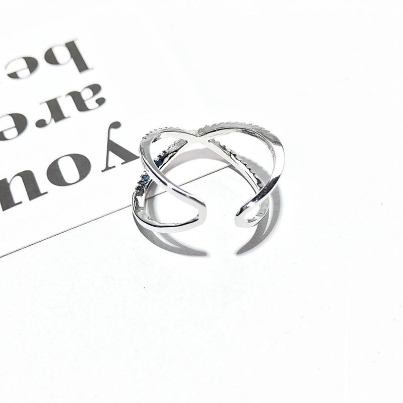 الأزياء S925 خاتم فضة مايكرو مطعمة الزركون افتتاح حلقة شخصية عبر الشكل الدائري للنساء Jwelry