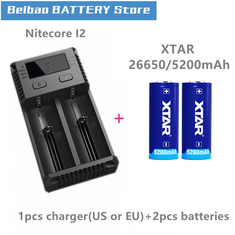 2 uds Xtar batería recargable 26650 5200mAh botón superior 3,7 V protegido para linternas con Nitecore nuevo cargador I2 VC2 cargador