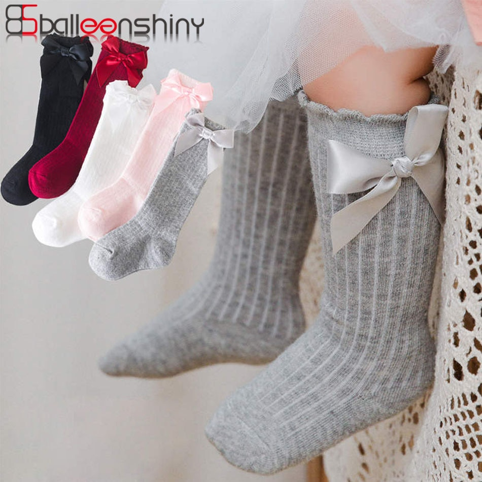 Balleenshiny-Calcetines de algodón suave para niños, pajarita grande chicas hasta la rodilla,...