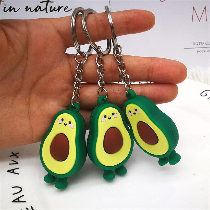Имитация фруктов авокадо сердце брелок 3D Мягкие силиконовые авокадо брелки для девочек кошелек школьная сумка амулеты ювелирные изделия модный подарок