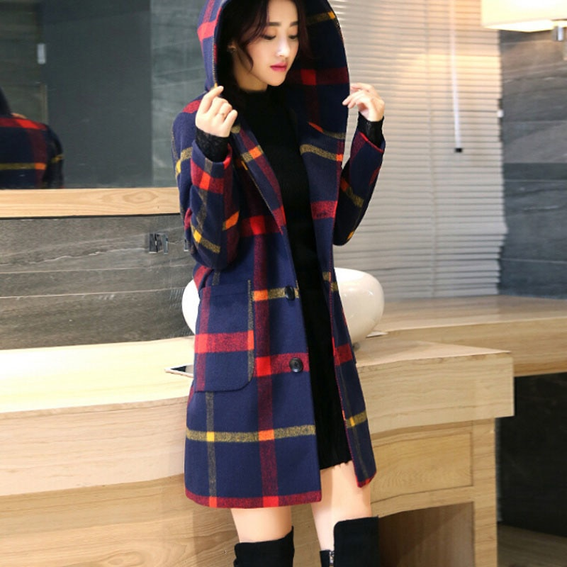XUXI para mujer otoño invierno abrigo de lana versión coreana manga larga Sexy Multicolor estampado de mezcla abrigo femenino Manteau FZ760