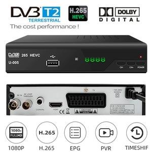 Европа EAC3 Plus DVB-T2 H.265 вещательный тюнер DVB T2 конвертер приставка HEVC 265 ТВ Декодер DVBT2 цифровая ТВ приставка наземный приемник