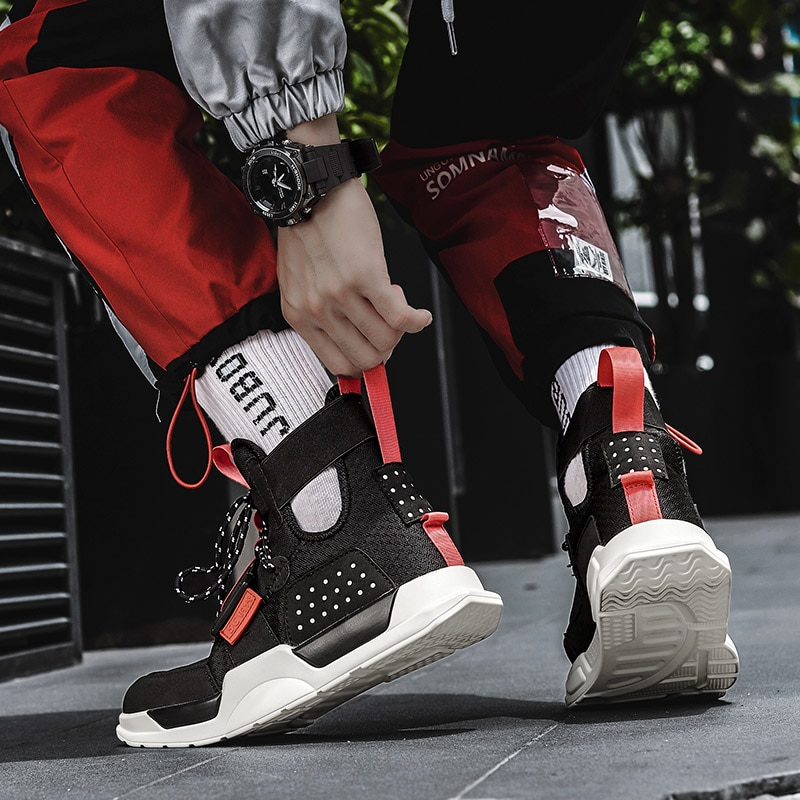 Ruiff plataforma colorida hip hop homens tênis de bordo unisex respirável tornozelo suporte alta superior masculino esporte trainer sapatos femininos