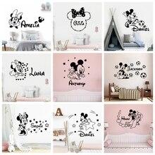 Disney personalizado nombre del bebé Mickey Mouse Minnie Mouse vinilo pegatina de pared decoración para habitación de los niños pegatinas de pared de habitación decoración Póster