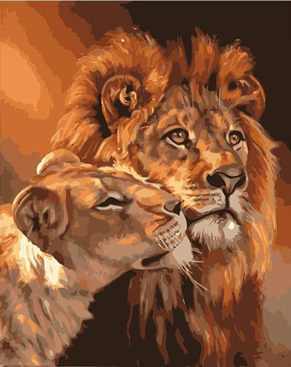 Pintura por números pintura acrílica marco de fotos pintura Digital tamaño Animal León imagen salón Mural lienzo decoración del hogar