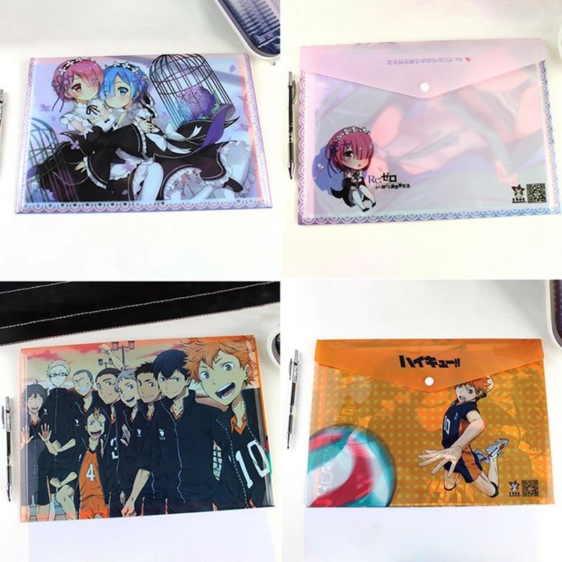 ¡1 Uds. Anime Re Zero Ram Rem, bolsa de archivo Haikyuu! Bolsa de archivo resistente al agua, de PVC, con botón de presión