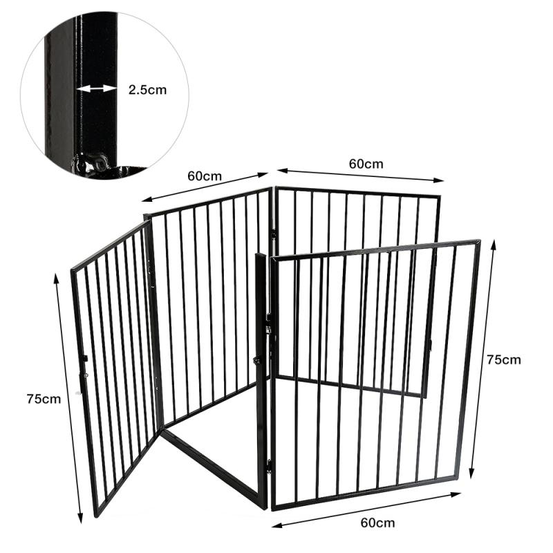4 Pcs/Set Dog Gate Pet Fences Metal Fireplace Fence Safety Enclosure For Pets And Baby Indoor And Outdoor Safe Fences  - buy with discount