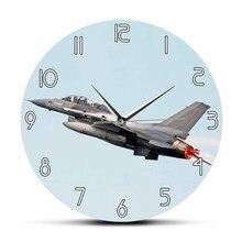 سلاح الجو F-16 القتال الصقر خلع ساعة حائط حديثة الطائرات الصامت اجتاحت ساعة الحائط الطيران ديكور المنزل الطيارين هدية