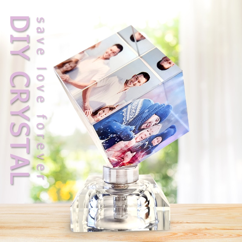 Quadro de Fotos Presente de Aniversário Estatuetas de Vidro Personalize Fotos Personalizadas Casamento 360 Rotativa Cristal Álbum Lembrança Led Luz