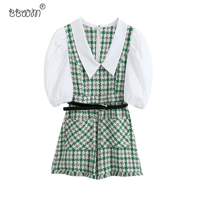BBWM Women 2020 Fashion With Belt Spliced Tweed Playsuits Vintage Girls Puff Sleeve Back Zipper Short Jumpsuits