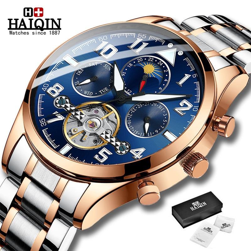 HAIQIN الكلاسيكية رجالي ريترو ساعات التلقائي ساعة ميكانيكية توربيون ساعة مضيئة حقيقية مقاوم للماء ساعة اليد الأعمال