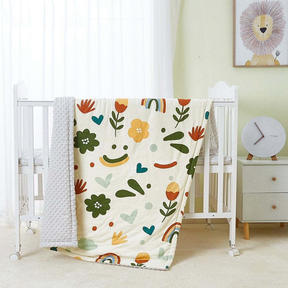 Baby Comforting Minky Dot Fabric Blanket Warm Wrap Children Air Conditioner Quilt Cover Aged 0-6 Years Kids Beddings Spring