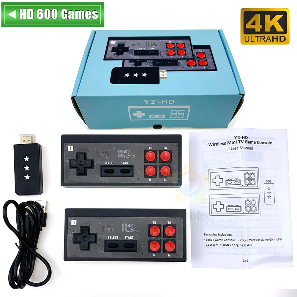 Y2 Plus 4K Video Game Console Built in 600 Classic Games Mini Retro Console Wireless Controller HDMI-Compatible Output Dual Play