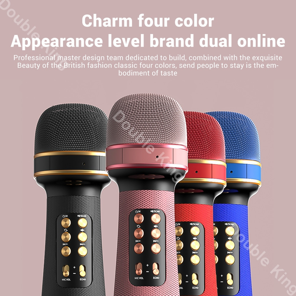 WS-898 Bluetooth Handheld Microphone Wireless Karaoke Double Speaker Condenser Mic Player Singing for iOS Android Smart TV enlarge