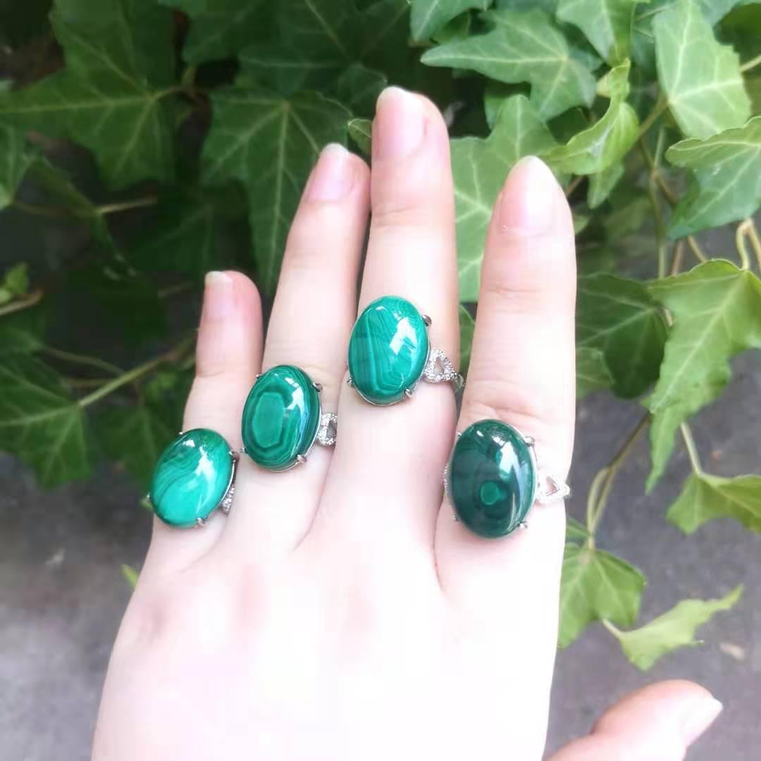 Anillo de malaquita Natural para mujer, joya joyería verde s925, plata con...