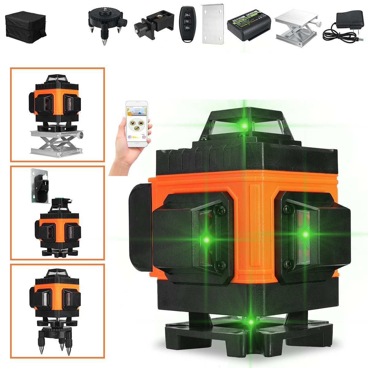 16 خط 4D مستوى الليزر الذاتي التسوية 360 الأفقي والرأسي عبر سوبر قوية مستوى الليزر الأخضر التطبيق/Cotrol عن بعد