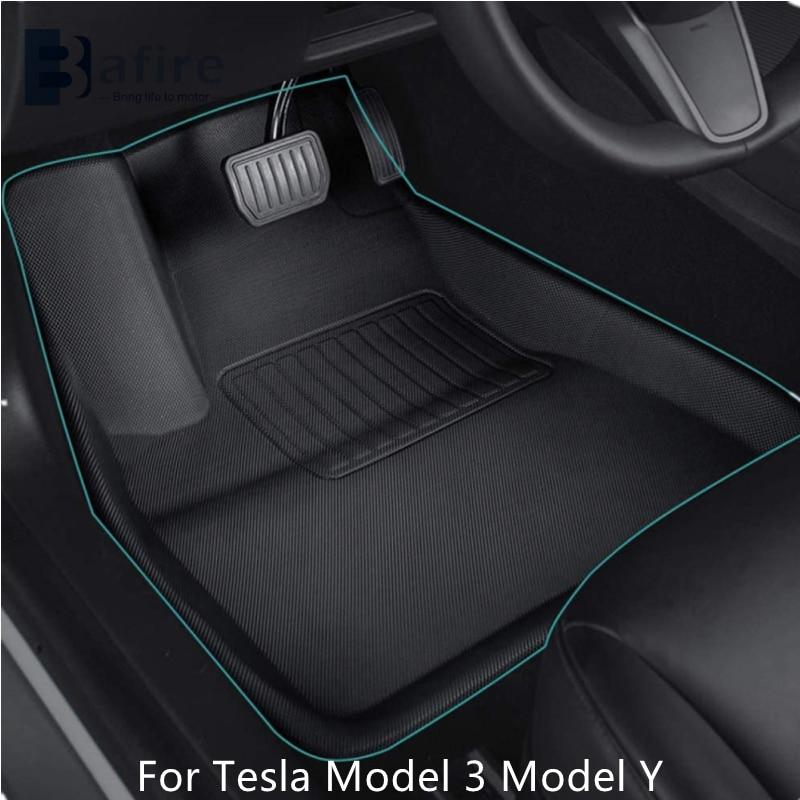 BAFIRE 3D Foot Pad For Tesla Model 3 Model Y Custom Floor Liner Fully Surrounded Floor Mats Waterproof Non-Slip Carpet 2021New