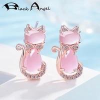 black angel fashion cute cat stud earring luxury rose quartz pink crystal gemstone earrings for women cz jewelry wedding gift