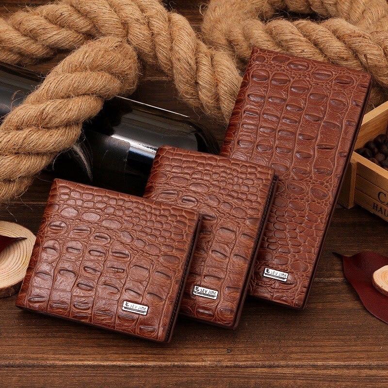 Мужские кошельки средней длины, деловые кожаные короткие кошельки с узором под крокодиловую кожу, кошелек для монет и кредитных карт, кошел...
