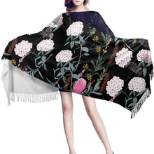 Black Hydrangea Scarf Unisex Thick Warm Winter Scarves Cashmere Casual Scarf Womens Shawl