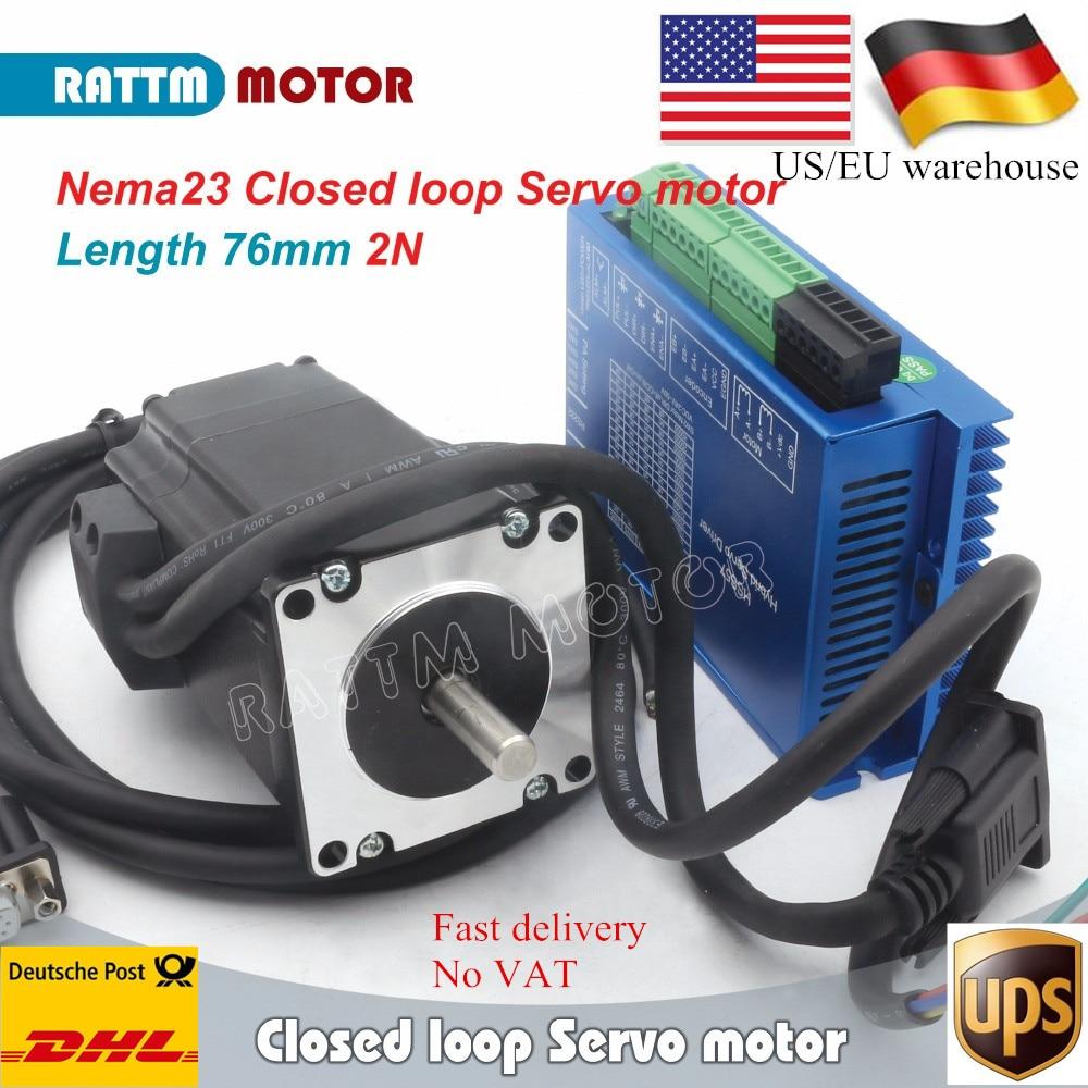 مجموعات محرك متدرج مغلق الحلقة Nema23 ، 2N.m 288oz-in 2ph HSS57 ، محرك سيرفو هجين 6A لـ CNC